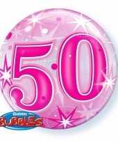 Folie helium ballon 50 jaar roze 45 cm