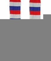 Lange feest sokken rood wit blauw